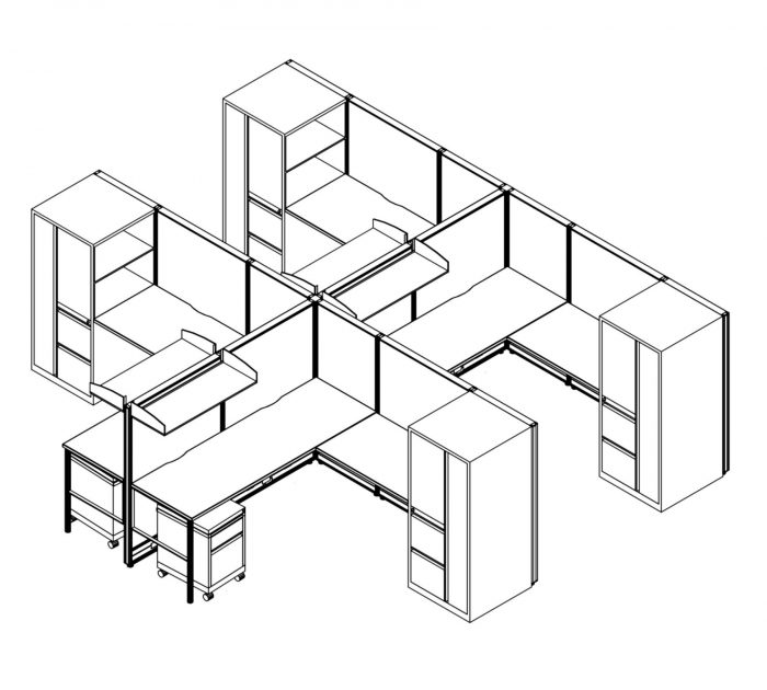 Technical drawing of the Compile CM513 set of work stations. Each of the 4 workstations are partially enclosed, with a set of rolling filing and supply drawers. Above, is a small shelf. On the opposite side of each station is a full height cabinet, with a set of drawers and a door.