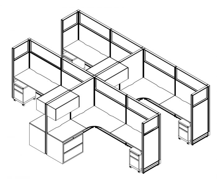 Technical drawing of the Compile CM515 set of work stations. Each of the 4 L-shaped desks have a beveled inside corner, and a set of desk drawers on each side. On the side with the wider set of drawers, there is a compartment with flip-up lid.
