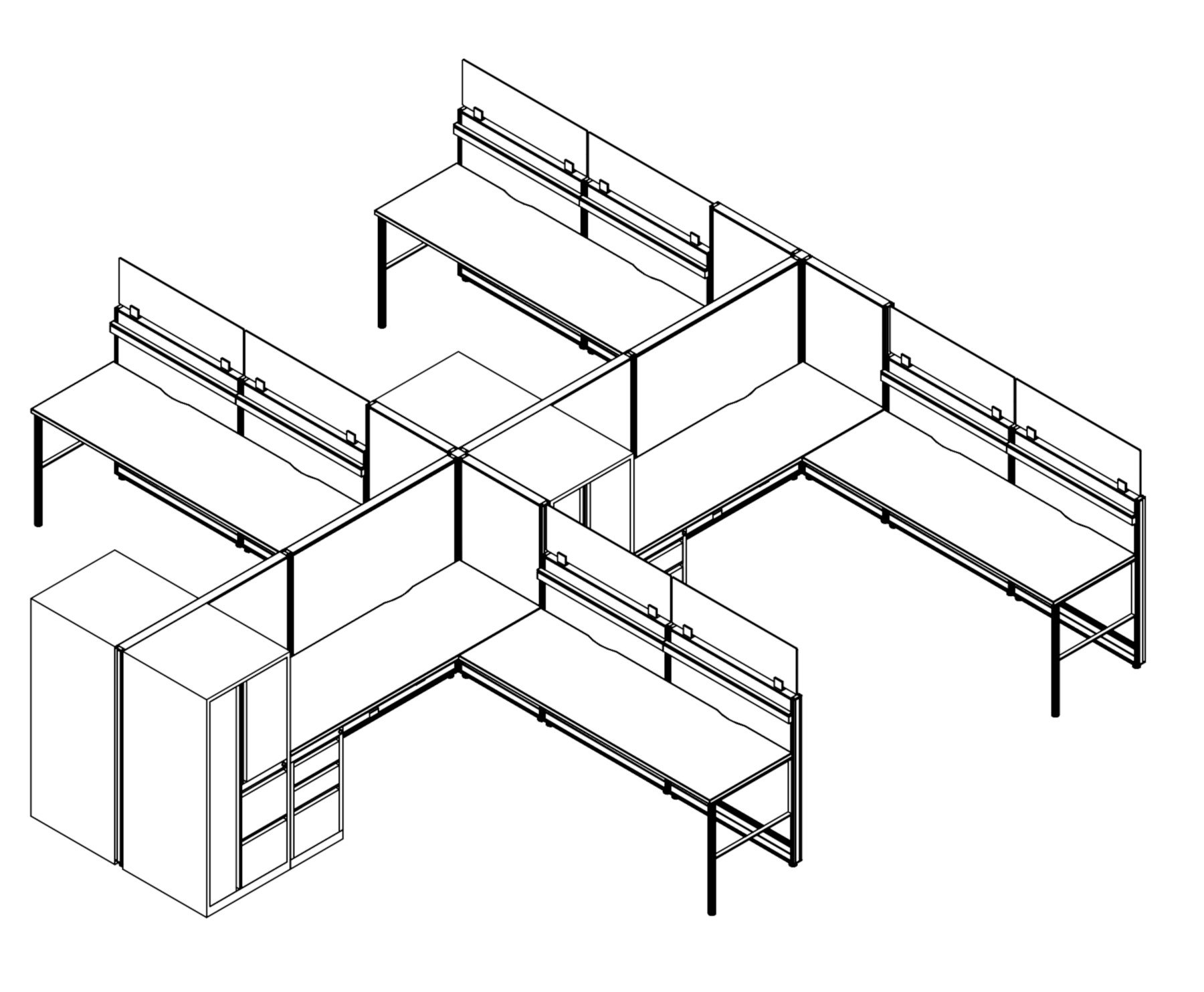 Technical drawing of the Compile CM518 set of work stations. Each of the 4 workstations has an L shaped work surface, with ample drawer and cabinet storage to one side.