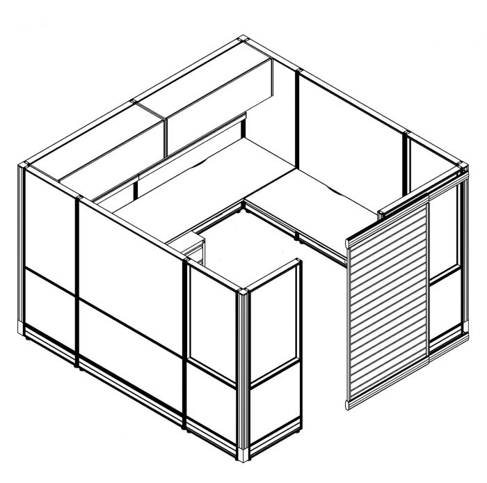 Technical drawing of the Compile CM519 Cubicle. This enclosed cubicle can hold a small team. It contains a small L shaped desk, and has set of supply drawers underneath. Additional storage exists above with two swing out doors. A door to the left can slide open.