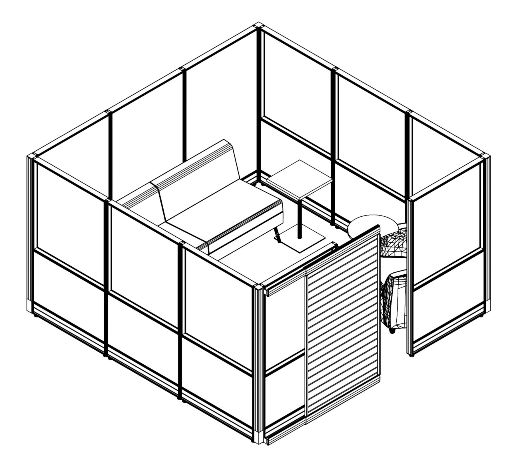 Technical drawing of the Compile CM520 Cubicle. This enclosed cubicle can hold a small team. A door to the right can slide open.