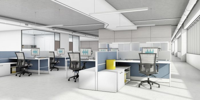 Workstations in Open Office PlanModern office furniture in Houston | Collaborative Office Interiors