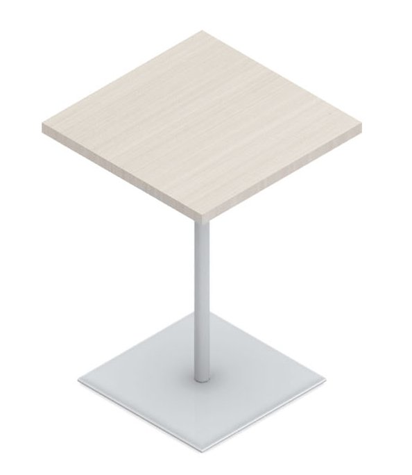 Product photo of Evolve's River table. It has a simple square pedestal base.